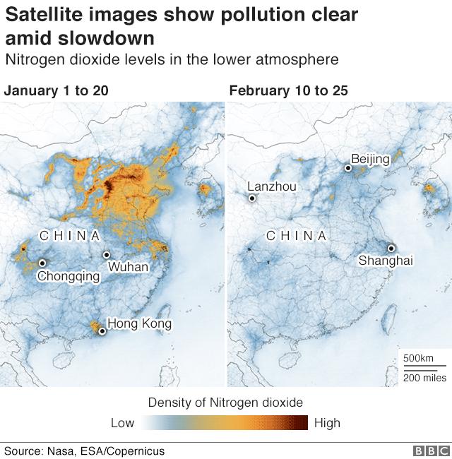 air pollution cleared due to coronavirus